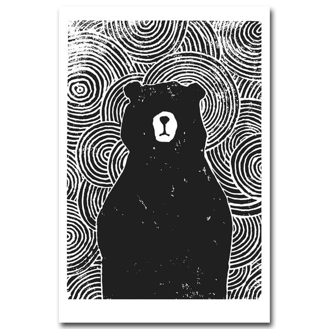 Cole Series: Black and White Animal Graphic Print Posters