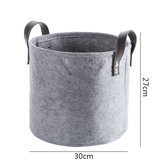 Charlie Grey Felt Storage Basket