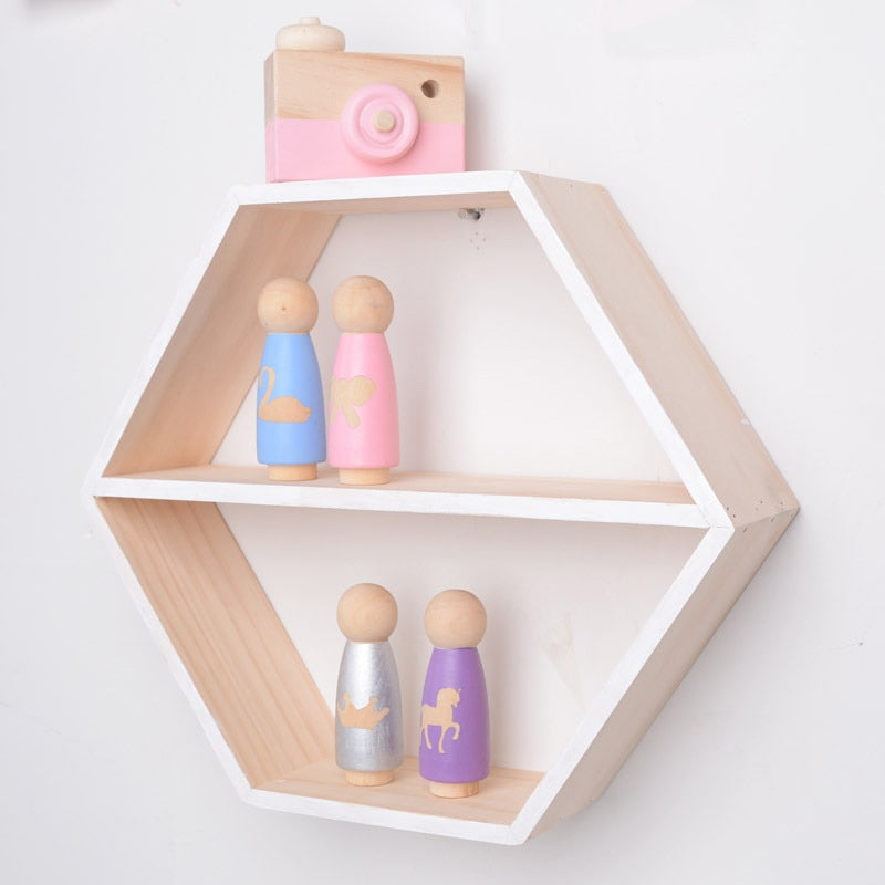 Harper Hexagonal Wooden Wall Shelf