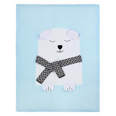 Lewis Polar Bear Blanket - Blue