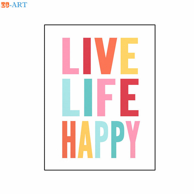 Ellen Wall Art Series: Live Live Happy