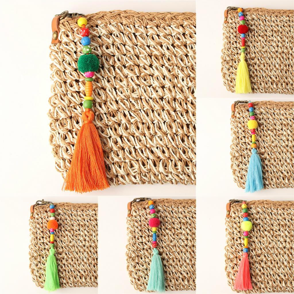 April Boho Pom Pom Keyring