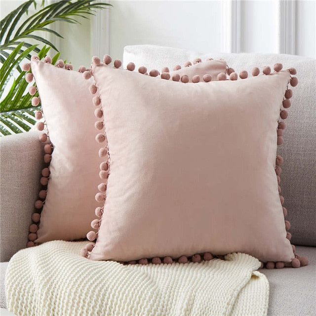 Felicity Series - Soft Velvet Pom Pom Pillow Cover