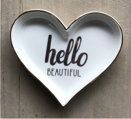 "Christina Heart Shaped ""Hello Beautiful"" Trinket Dish"
