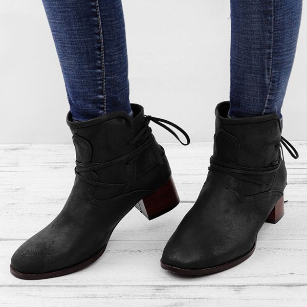 bdb78fa8d39ac Women Vintage Low Heel Ankle Boots Plus Size PU Casual Back-lace Boots