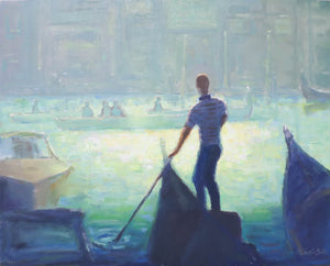 """The Gondolier"", 16x20 Original Oil Painting by Artist Kristina Sellers"