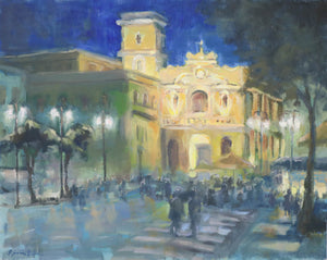 """Piazza Tasso"",16x20 Original Oil Painting by Artist Kristina Sellers"
