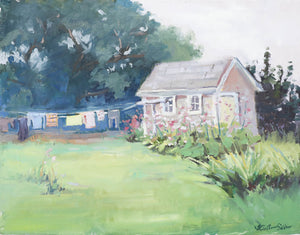 """Airing my Laundry"" 14x18 original oil painting by Artist Kristina Sellers"