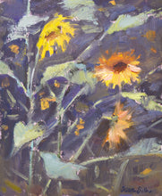 "Load image into Gallery viewer, ""Smoky Sunflowers"" 10x8 framed original oil painting by Artist Kristina Sellers"