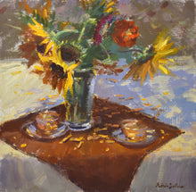 "Load image into Gallery viewer, ""Autumn Tea"" 14x11 original oil painting by Artist Kristina Sellers"