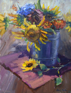 """Bucket of Blooms"" 14x11 original oil painting by Artist Kristina Sellers"
