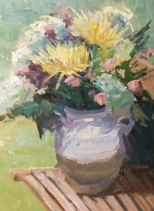 """Petals & Pottery"" 16x12 Original Oil Painting by Artist Kristina Sellers"