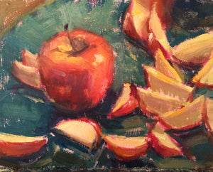 """Scattered Slices"" 8x10 original oil painting by Artist Kristina Sellers, framed and ready to hang"