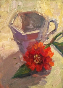 """Vanilla Tea"" 7x5 framed original oil painting by Artist Kristina Sellers"