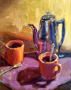 """Coffee & Conversation"" 14x11 framed original oil painting by Artist Kristina Sellers"