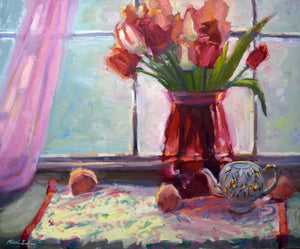 """Blushing Blooms"" Original Oil Painting by Artist Kristina Sellers"