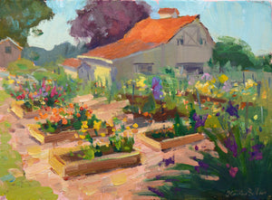 """Community Garden"" Original Oil Painting by Artist Kristina Sellers"