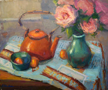 "Load image into Gallery viewer, ""Kettle and Roses"" 16x20 framed Original Oil Painting by Artist Kristina Sellers"