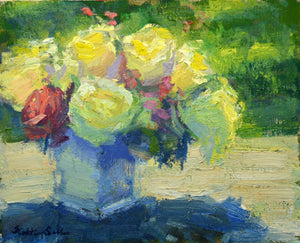 """Table Top Roses"" Original Oil Painting by Artist Kristina Sellers"