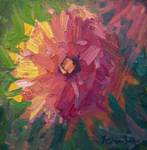 """Dramatic Dahlia"" 6x6 framed Original Oil Painting by Artist Kristina Sellers"