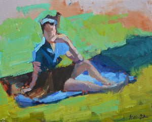 """Girl on the Grass"" 11x14 original oil painting by Artist Kristina Sellers"