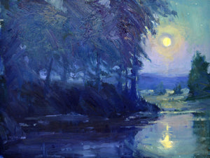 """Sauvie Moon"" 12x16 Original Oil Painting by Artist Kristina Sellers"