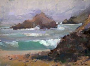 """Pfeiffer Beach"" 6x8 original oil painting by Artist Kristina Sellers"