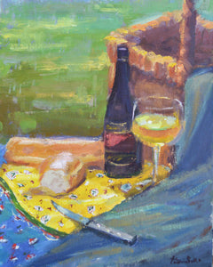 """Bread and Wine"" original oil painting by Artist Kristina Sellers"