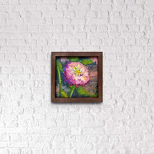 "Load image into Gallery viewer, ""Pink Zinnia"" 6x6 framed Original Oil Painting by Artist Kristina Sellers"
