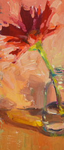 """Red Daisy"" 9x4 original oil painting by Artist Kristina Sellers"