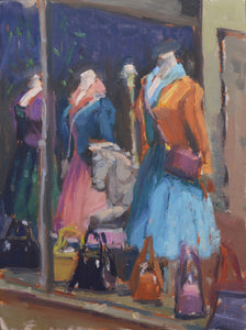 """Retail Therapy"" 12x9 Original Oil Painting by Artist Kristina Sellers"