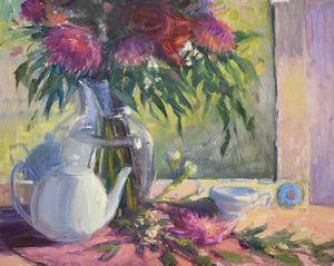 """Tea and Dahlias"" 16x20 Original Oil Painting by Artist Kristina Sellers"