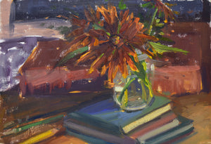 """Sunflower and Books"" 8x12 Original Oil Painting by Artist Kristina Sellers"