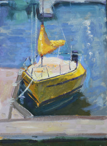 """Sunny Sailboat"" 12x9 original oil painting by Artist Kristina Sellers"