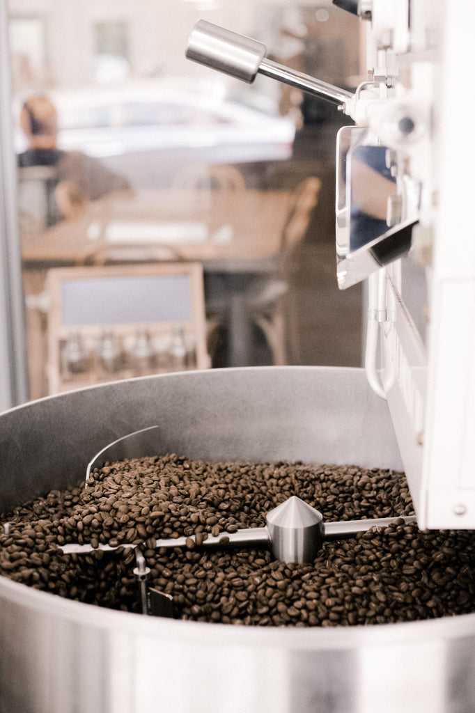 Coffee roaster with fresh coffee beans