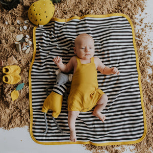 Baby Blanket Golden Yellow Organic Cotton Double sided.