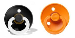 Bibs Pacifier Black Night GLOW/Apricot Combination Pack of 2 Size 1