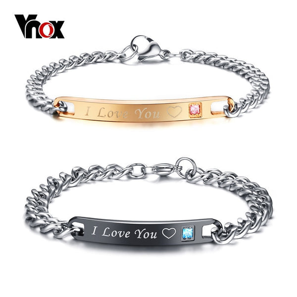 Couple Bracelets with Crystal Stone Heart