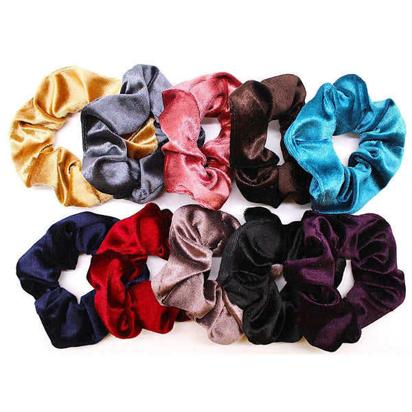 10 Pcs Velvet Elastic Hair Bands Scrunchy