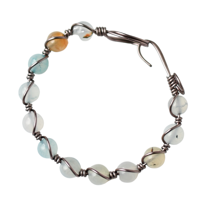 Pale Blue Green Dragon Vein Agate Bracelet