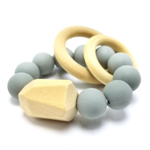 BPA-Free Modern Silicon & Wood Baby Teething Ring - 100% Food Grade Silicon (Gray)