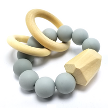 Load image into Gallery viewer, BPA-Free Modern Silicon & Wood Baby Teething Ring - 100% Food Grade Silicon (Gray)