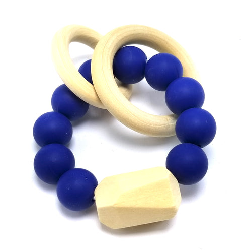 BPA-Free Modern Silicon & Wood Baby Teething Ring - 100% Food Grade Silicon (Dark Blue)