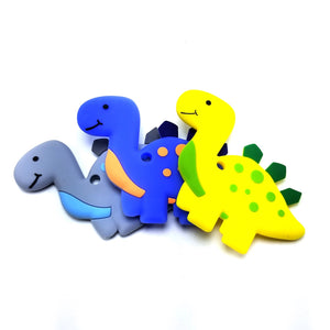 BPA-Free Baby Dinosaur Baby Teething Toy 100% Food Grade Silicon Teether (Blue)