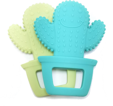 Load image into Gallery viewer, (2-Pack) BPA-Free Cactus Cuties Baby Teething Toy, 100% Food Grade Silicon Teether
