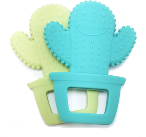 (2-Pack) BPA-Free Cactus Cuties Baby Teething Toy, 100% Food Grade Silicon Teether