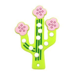 2-Pack Blue & Green Cactus Teether Toy - BPA Free 100% Food Grade Silicon For Baby & Infant