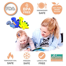 Load image into Gallery viewer, BPA-Free Baby Dinosaur Baby Teething Toy 100% Food Grade Silicon Teether (Blue)