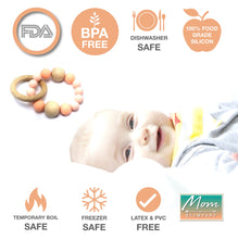 Load image into Gallery viewer, BPA-Free Modern Silicon & Wood Baby Teething Ring - 100% Food Grade Silicon (Salmon Pink)