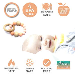 BPA-Free Modern Silicon & Wood Baby Teething Ring - 100% Food Grade Silicon (Salmon Pink)